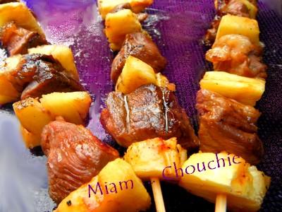 brochettes de magrets à l'ananas