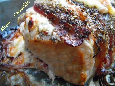 rôti de porc orfloff au morbier, lard fumé et herbes de provence