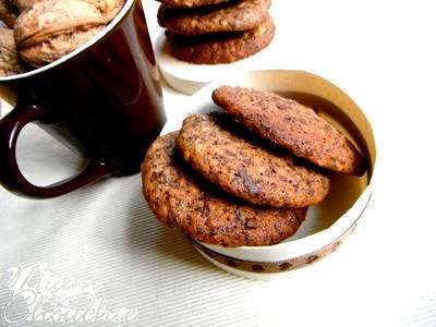 cookies moelleux à la banane, noix et chocolat