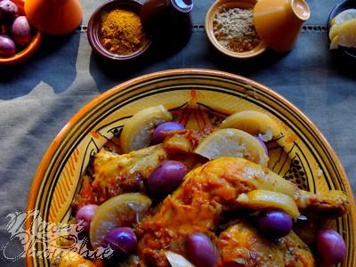 tajine de poulet au citron confit et olives violettes